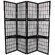 "Oriental Furniture 65"" Window Pane Room Divider with Shelf in Black"