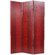 Oriental Furniture Faux Snakeskin Leather Room Divider in Red