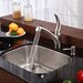 "Stainless Steel Undermount 23"" Single Bowl Kitchen Sink with 10.75"" Kitchen Faucet and Soap Dispenser"