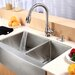 "Farmhouse 33"" Double Bowl Kitchen Sink with Faucet and Soap Dispenser"