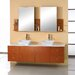 "Ultra Modern Clarissa 61"" Double Bathroom Vanity Set with Stone Top in Honey Oak"