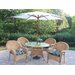 Resin Wicker 5 Piece Dining Set with Cushions and Umbrella