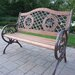 Double Rose Wood and Cast Iron Park Bench