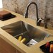 "32"" x 19"" Single Bowl Kitchen Sink with Faucet and Soap Dispenser in Satin"