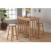 3 Piece Counter Height Bar Table Set with Terracotta Tile Top in Natural