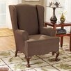 Stretch Suede Wing Chair T Cushion Slipcover