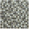 "Crystal Stone II 12"" x 12"" Glass Square Mosaic in Pewter"
