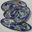 "Aqua Fish Design 4.5"" Oval Platter (Set of 4)"