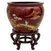 "16"" Landscape Fish Bowl with Stand in French Red Crackle Lacquer"