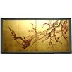 "18"" Plum Tree on Gold Leaf Silk Screen with Bracket"