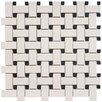 "Vintage 12"" x 12"" Unglazed Porcelain Basketweave Mosaic in Antique and Black"