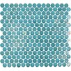 "Geo Glass Circle 12-3/10"" x 11-1/2"" Glass Mosaic in Blue"