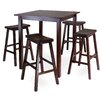Parkland 5 Piece High Pub Table with 4 Saddle Seat Stools