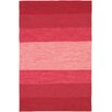 India Red Striped Rug