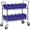 2 Shelf Mobile Wire Cart with Quick Pick Bins