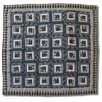 Blue Log Cabin Cotton Throw Quilt