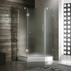 Frameless Frosted Neo-Angle Door Shower Enclosure with Low-Profile Base