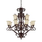 Manchester 12 Light Chandelier with Scavo Glass
