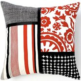 Siggi Combo Cotton Pillow in Red/White/Black