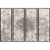 Paris Maps by Unknown Mark Abrams Art (Set of 4) - 62&quot; x 22&quot;