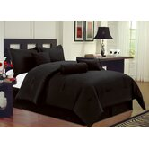 Black Microfiber Bed in a Bag 7 PC Comforter Set