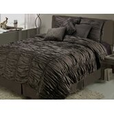 Ruched 7-piece Comforter Set in Brown