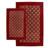 Alabama Jacquard Piece Accent Burgundy Rug Set