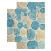 Pebbles 2 Piece Aquamarine Contemporary Bath Rug Set