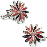 Daisy Cufflinks in Orange / Black