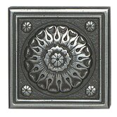 "Metal Ages 2"" x 2"" Baroque Glazed Decorative Tile Insert in Polished Pewter"