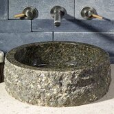 16&quot; Circular Vessel Sink with Broken Edge in Cafe Blanc Travertine