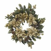 24&quot;  Golden Poinsettia Wreath
