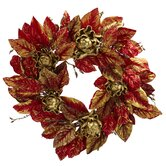 24&quot; Burgundy &amp; Gold Artichoke Wreath