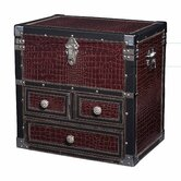 Storage Chest with Drawers in Maroon Faux Croc and Espresso