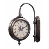 Antique Double Sided Wall Clock in Bute Bronze