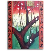 Hand Painted 'Asian Trees' Canvas Art