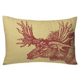 Moose Decorative Pillow in Red / Wheat