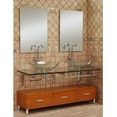"Modern Glass 59"" Clear Horizon Vanity Set"