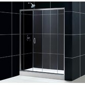 Infinity Sliding Door Shower Enclosure with Center Base & BackWall Kit