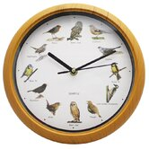 Bird Sound Wall Clock in Pine