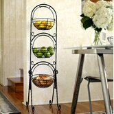 Scroll 3-Tier Floor Basket Stand