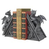 Gothic Castle Dragons Sculptural Bookend in Grey Stone (Set of 2)