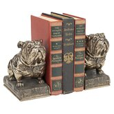 Bulldog Mascot Bookend in Antique Faux Bronze (Set of 2)