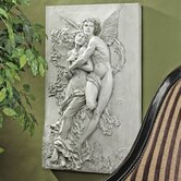 Cupid and Psyche Sculptural Wall Frieze in Antique Stone
