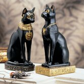 Egyptian Cat Goddess Bastet Statue in Matte Black (Set of 2)