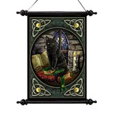Cat and Books Canvas Wall Scroll Tapestry