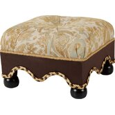 St. Lucia Footstool with Self Button, Self Braid and Cord
