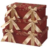 Bacara Largest Rectangle Boxes with Bow and Ribbon, Lined ( Set of 3)