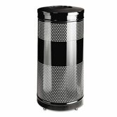 Open Top Receptacle, Round, Steel, 28 gal, Black