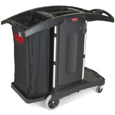 Compact Folding Housekeeping Cart in Black